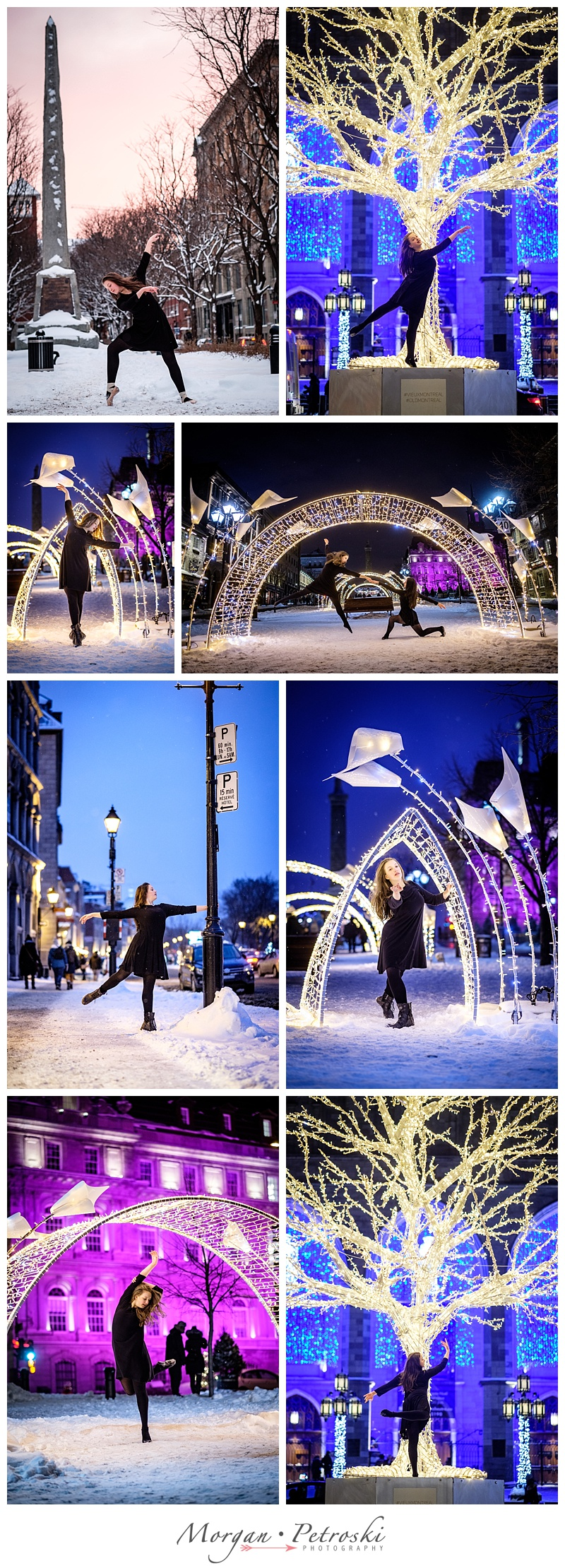 Girl dancing in the snow in Montreal