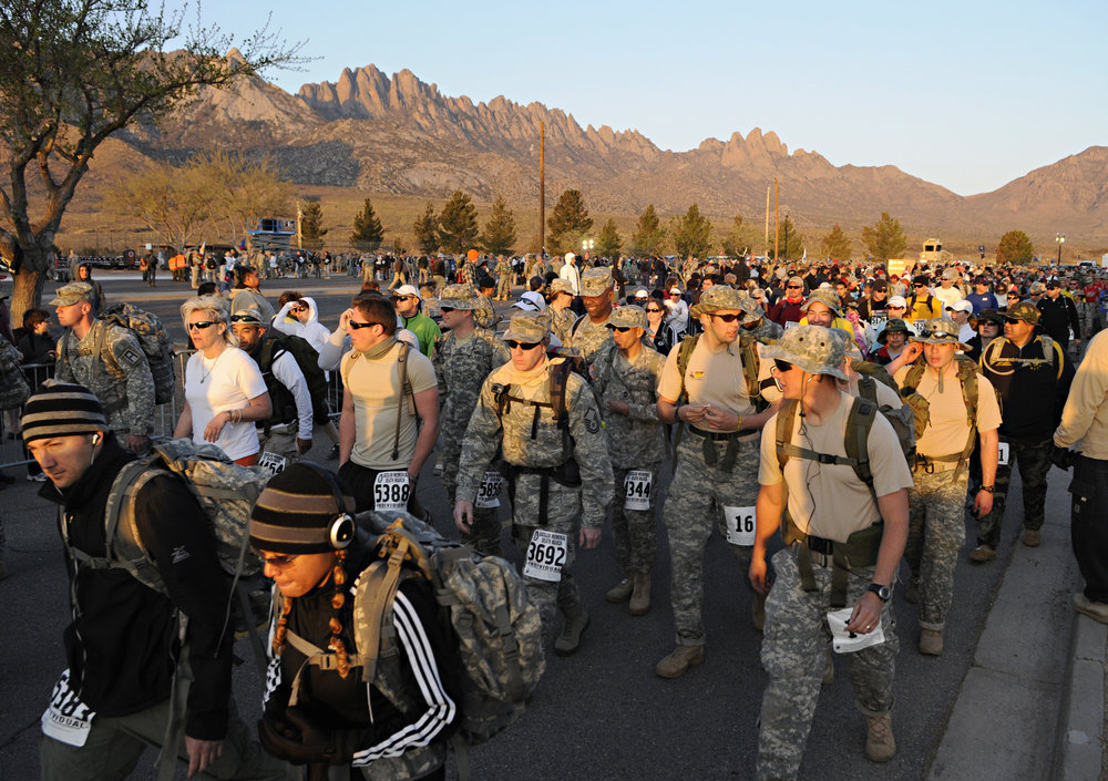 Walkers and runners begin the 22nd Annual Bataan Memorial Death March at White Sands Missile Range, Sunday, March 27, 2011. (Morgan Petroski/Albuquerque Journal)