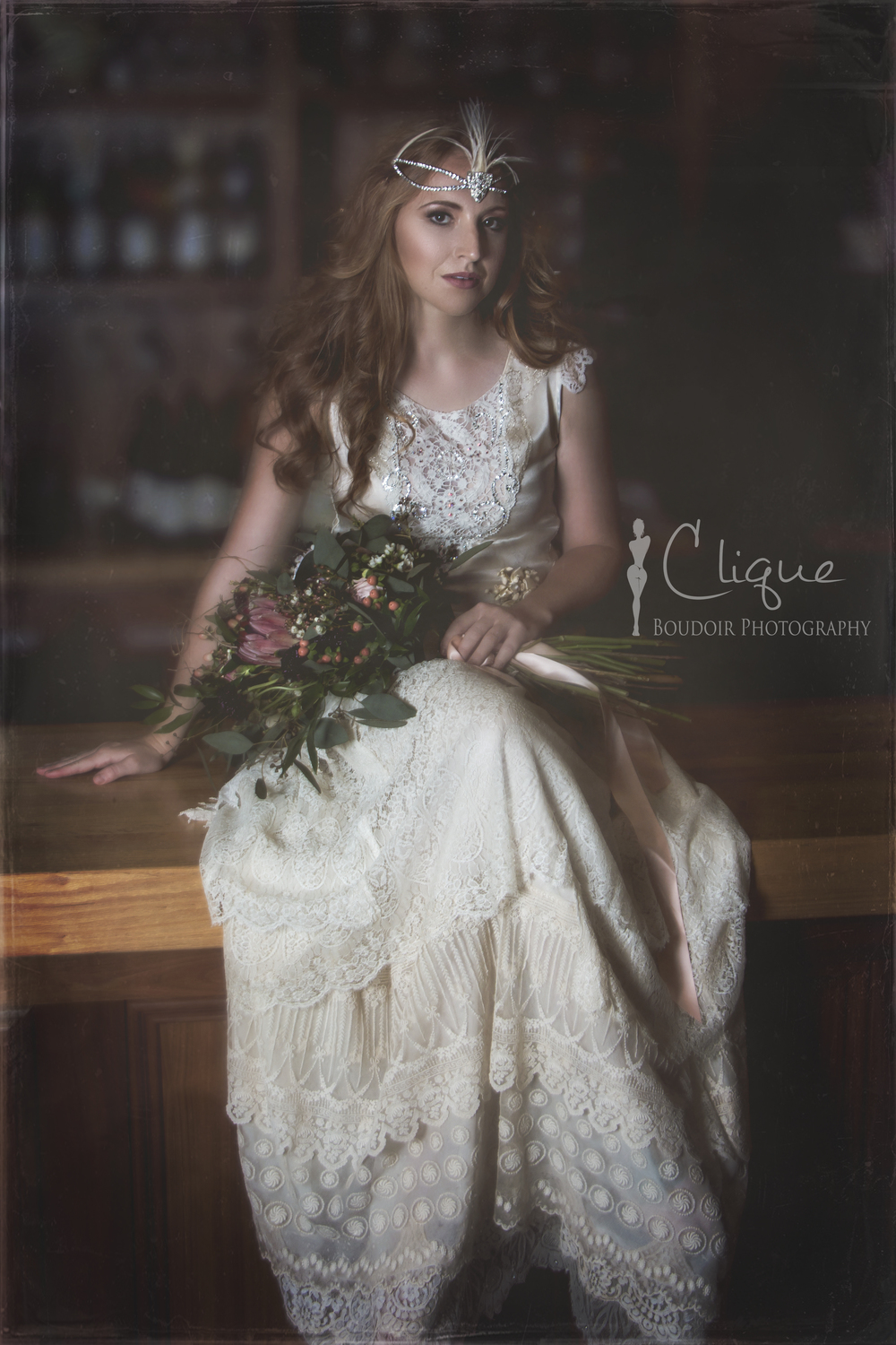 Vintage bridal gown on a bar