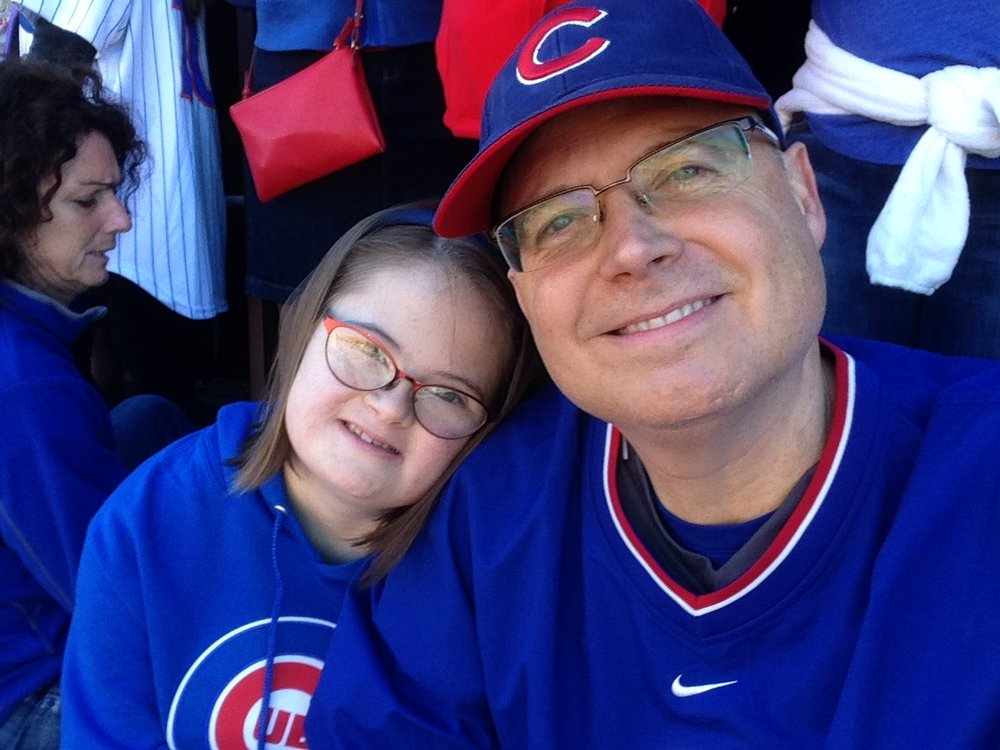 With her Dad at a Cubs game