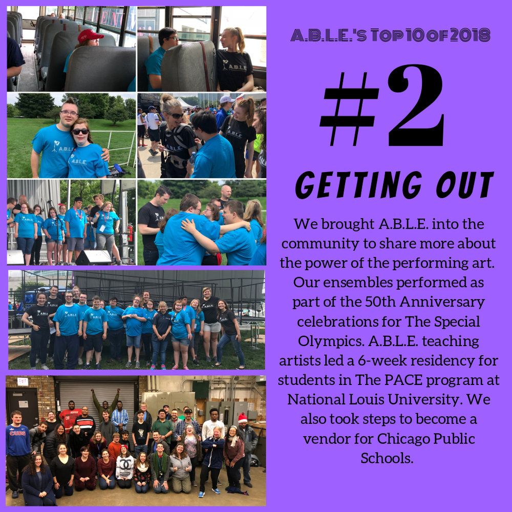 This year we broadened our outreach efforts, sharing our work with other organizations around Chicago that support individuals with developmental differences. Over the summer, our ensembles performed as part of the 50th Anniversary celebrations for The Special Olympics. In the fall, our teaching artists led a 6-week residency for students in The PACE program at National Louis University. We also took steps to become a vendor for Chicago Public Schools. We're building a more inclusive Chicago!