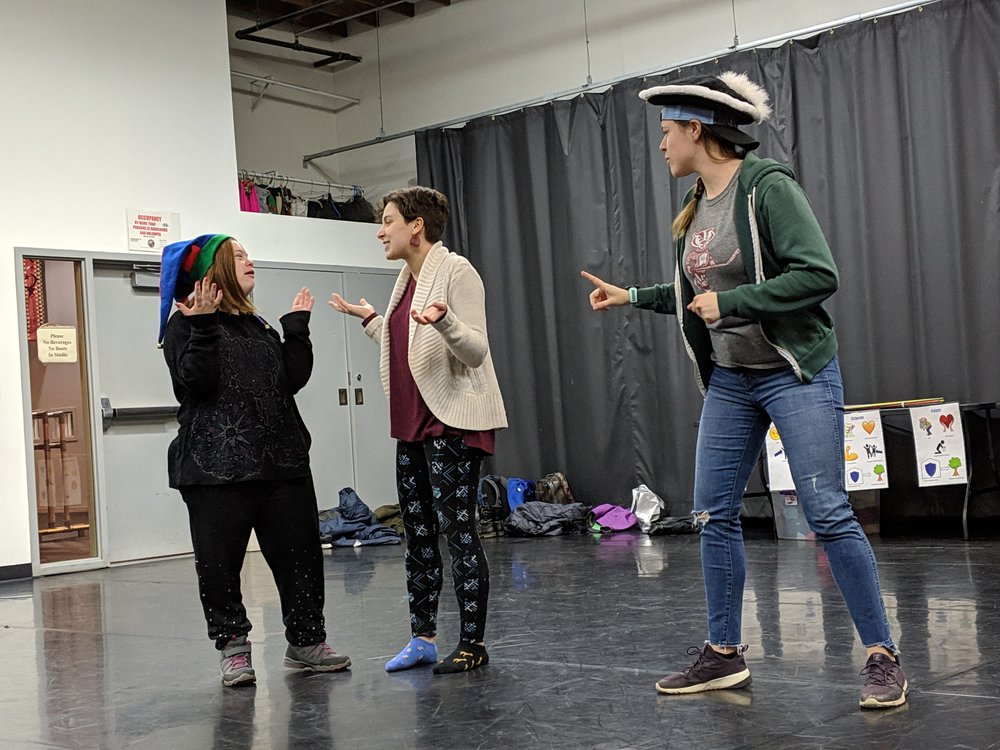 Touchstone (Claire) gets some direction from Emma about mean Duke Frederick (Beth)