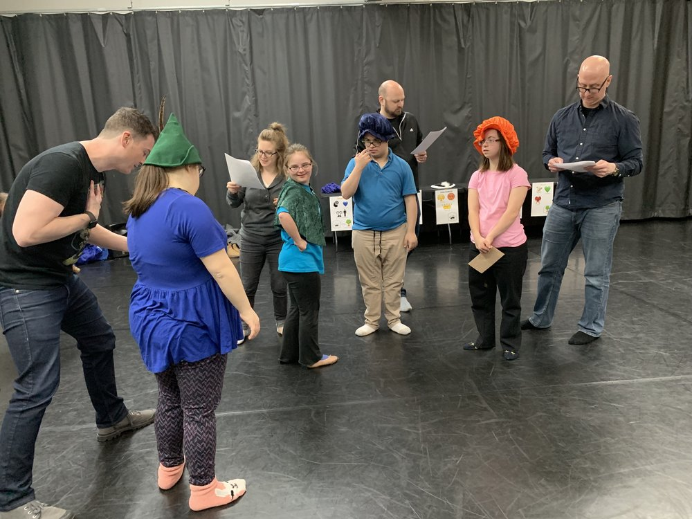 The Friday ensemble acts out As You Like It's major love quadrangle with Mila as Silvius, Natalia as Phebe, Samuel as Orlando, and Quincy as Rosalind/Ganymede. Notice the signature costume pieces for each character - these help us (and the audience) to keep track of who is who.