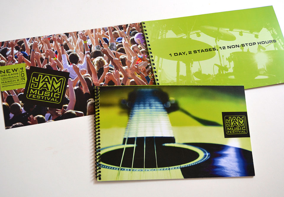 The Jam Jam Music Festival brochure was designed as a dynamic sales piece for potential investors.