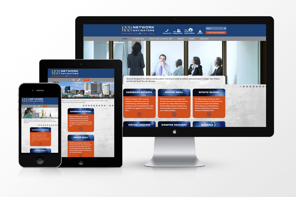 Network Navigators had earned a reputation as the most experienced New Orleans IT consulting company, but its brand and website did not reflect it. We created a new identity for the company and designed a website that showcases its comprehensive and innovative IT services and customer loyalty. www.networknavigators.net