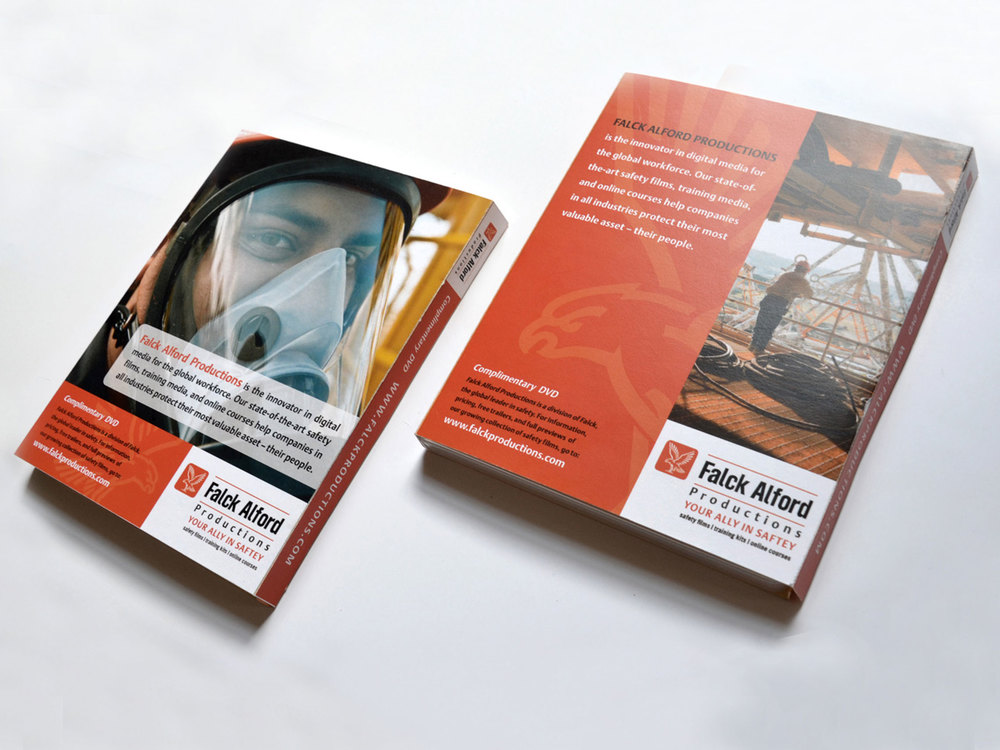 The design of this DVD cover for Falck Alford, a safety training company, involved creating a new tagline, Your Ally in Safety, that would articulate the company's business and relationship building strategy.