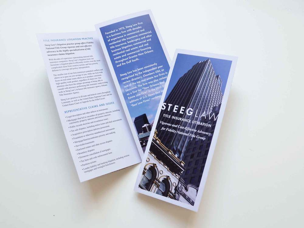 We created this handy brochure for the real estate law firm Steeg Law to leave behind at meetings.It can easily be updated to suit the needs of the target audience and is a one of many marketing initiatives we execute for the firm.