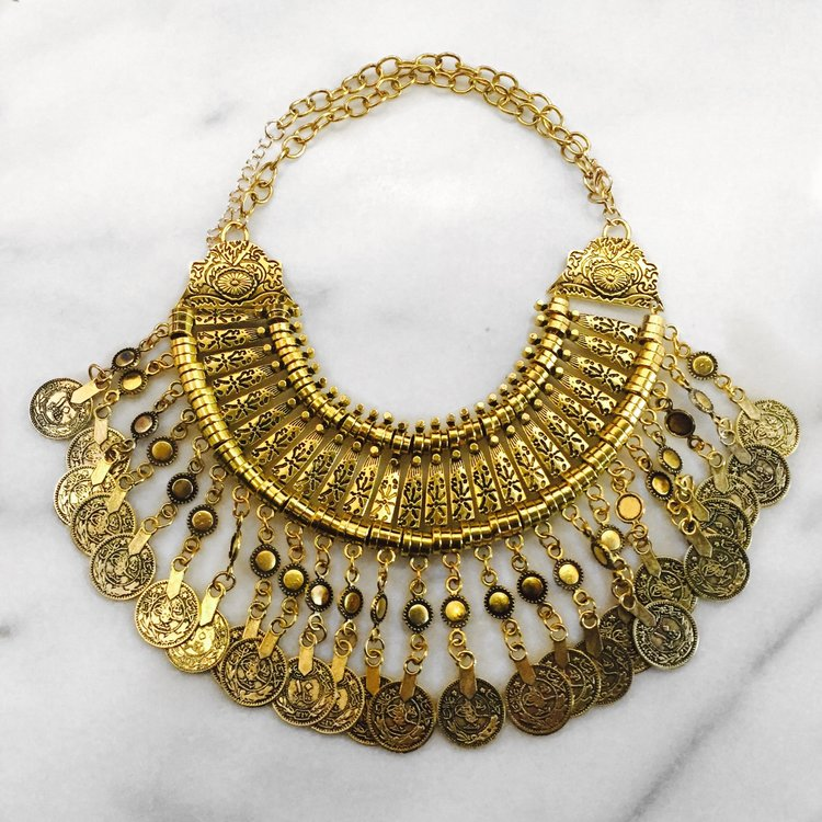 tradesy i necklace y gold sage golden coin sparkling
