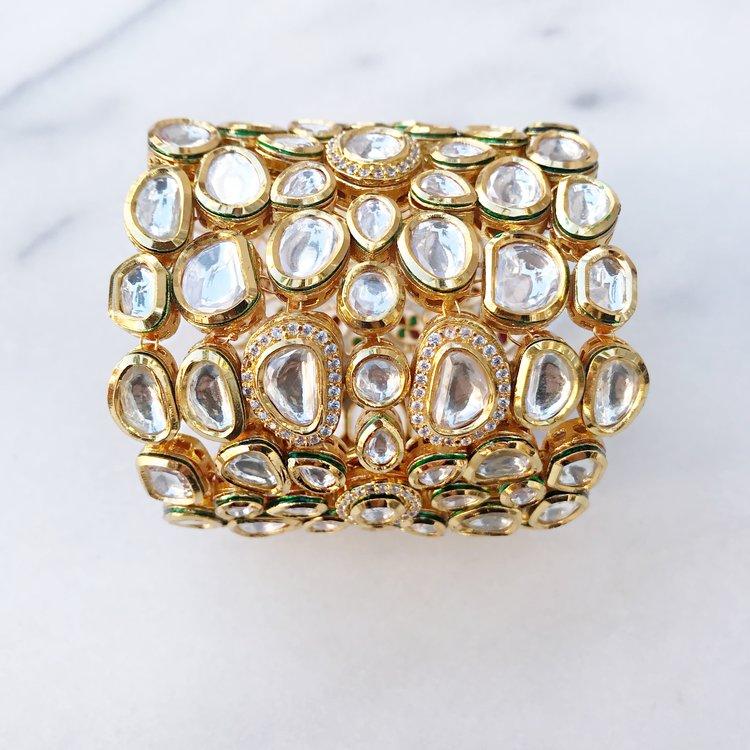 Jaipur Kundan Gold Bracelet - AIM — Kamal Beverly Hills
