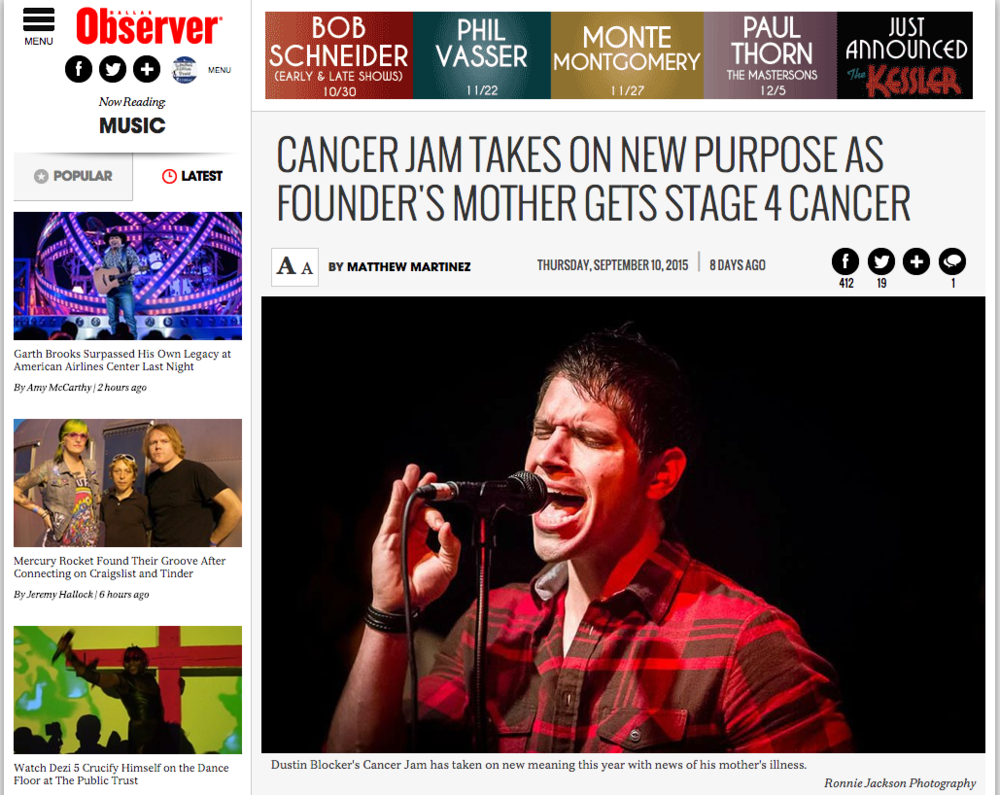 Cancer Jam 2015: Featured Dallas Observer (9.10.15)