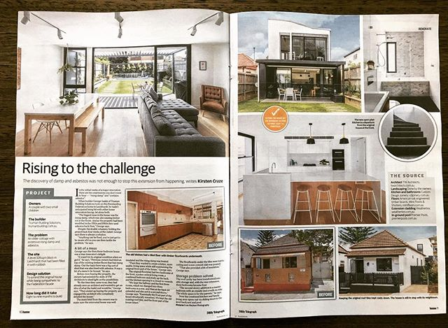 Leichhardt project featured in today's @home_mag_dt . Read about tackling the rising damp and asbestos issues during the renovation. Thank you for the beautifully written article @kirstencraze  Built by #TrumanBuilding  Photos by @evanmacleanphotography  Design by @tw_architects  American Oak Floors @mintfloors  Joinery by Custom Design Joinery  Electrical by Royal Sparks Electrical