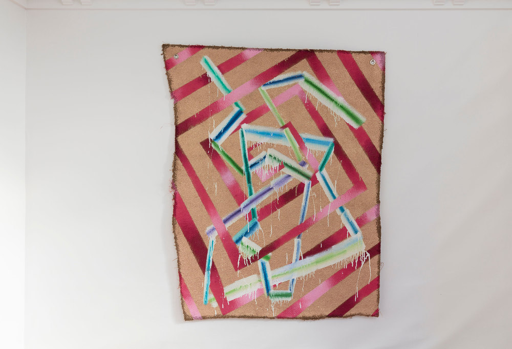 T.G.P. (2014)   Oil, Enamel & Spraypaint on Carpet  Photo courtesy Shaun Waugh