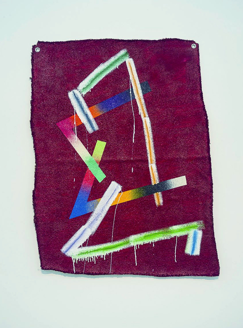 E.V.Q.J.S.D. (2013)   Oil, Enamel and Spraypaint on Carpet  Photo courtesy Kallan Macleod