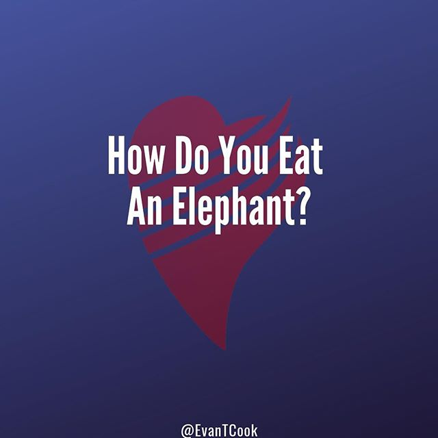 "Let me start by saying that I don't condone the consumption of elephants. In fact, I encourage against it. - However, there is an interesting discussion we can have when prompted with what has to be a question of zen-origin: How do you eat an elephant? - The only appropriate response (of course) is ""one bite at a time."" - Anything is possible when you take things one step at a time. Try to do everything at once and you'll get frustrated, discouraged, and overwhelmed. - If I were to ask you, ""How do you look, feel, and perform at your best,"" there's a chance you would list out all of the foods you need to eat, the supplements you need to take, the workouts you need to do, the amount of sleep you need to get and so on. That's a lot. - While you wouldn't be wrong, there's a better answer: you look, feel, and perform at you best, one bite at a time, one meal at a time, one workout at a time, one night sleep at a time. - When you break things down into bite-sized chunks (pun very much intended) and focus on getting just a little bit better than you were yesterday, everything becomes SO much easier. - Make your next meal the best you possibly can, or at least a little better than your last. - Make your next workout the best you possibly can, or at least a little better than your last. - Make your next night's sleep the best you possibly can, or at least a little better than your last. - You don't have to change everything all at once to enjoy the results. By improving on one meal, one workout, one sleep, you'll start to feel better and you'll build confidence, momentum, and you'll make progress faster than ever. - #fitdad #dadbod #menshealth #womenshealth #fitat40 #fitat50 #fitafter40 #fitafter50 #fitnesslife #fitnation #healthandwellness #healthandfitness #healthymind #healthier #healthtips #fitdadsofig #fitdadnation"