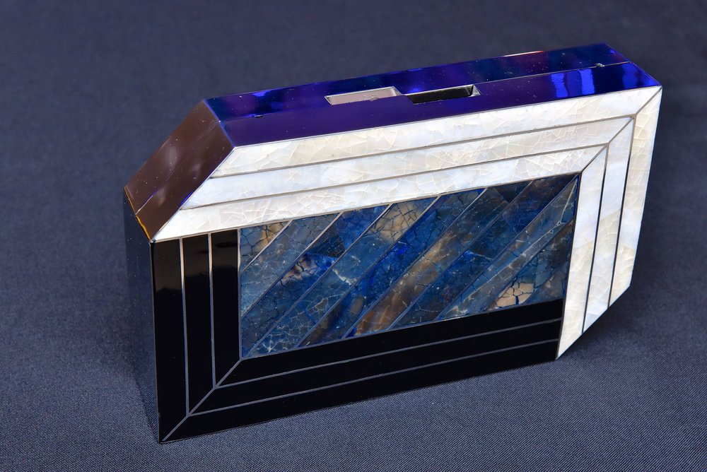 Pia Minaudière in black, blue and white shell inlay.