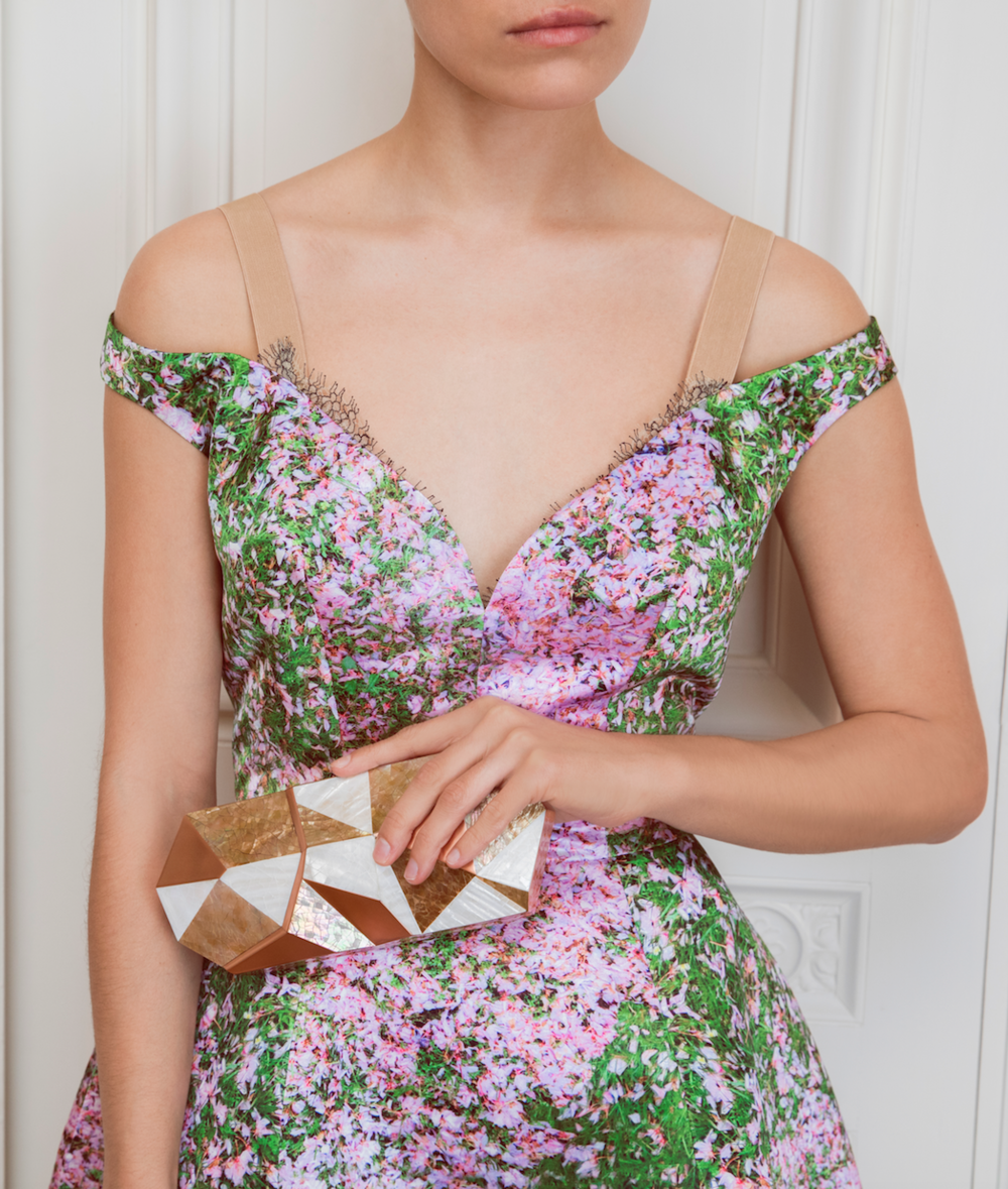 "Rafē's ""MaryAnne"" minaudière paired with a dress by Natasha Zinko"