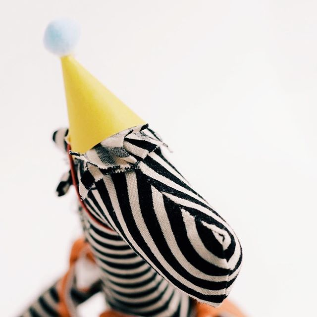 Oh hello Mr. Zebra, looking as dapper as ever in your party hat!!🎉⠀ #partyanimal #zebralove #birthdaydollcompany