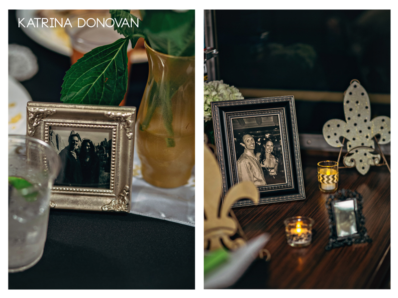 The bride decorated the reception tables with photo memories and fleur de lis.