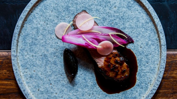 duck hearts, fermented red cabbage and fried capers