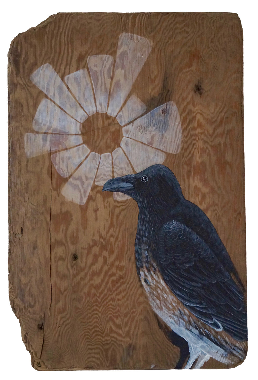 "GHOST RAVEN  2017  ACRYLIC ON FOUND WOOD  21"" x 14"" x 1/2""  SOLD"