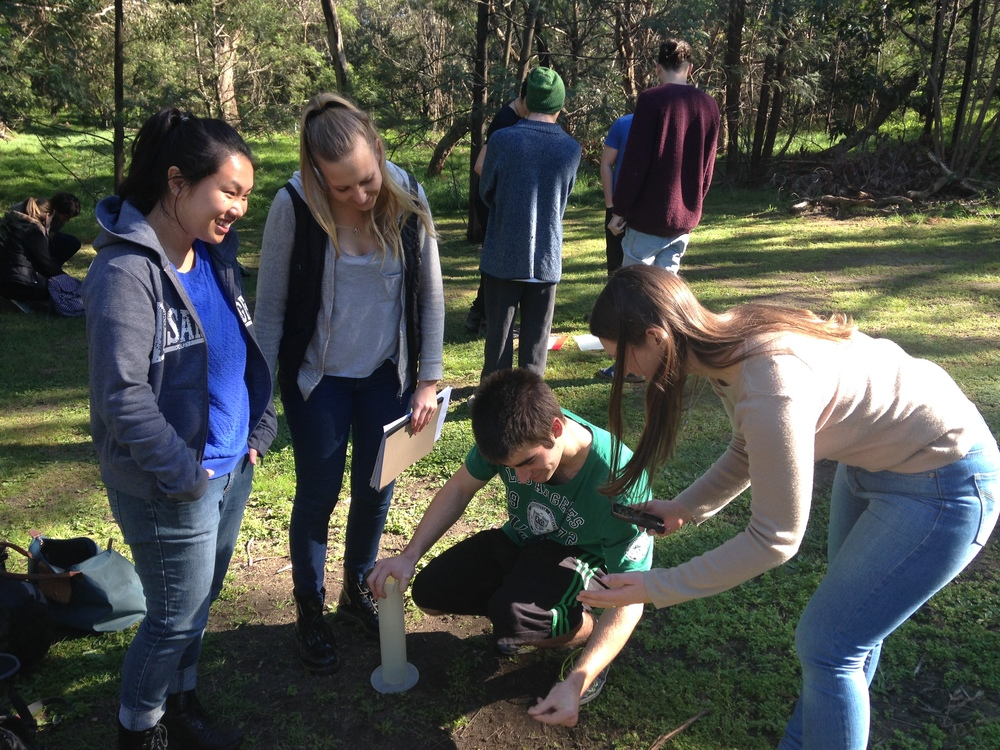 Students in an Environmental Sampling unit testing soil.