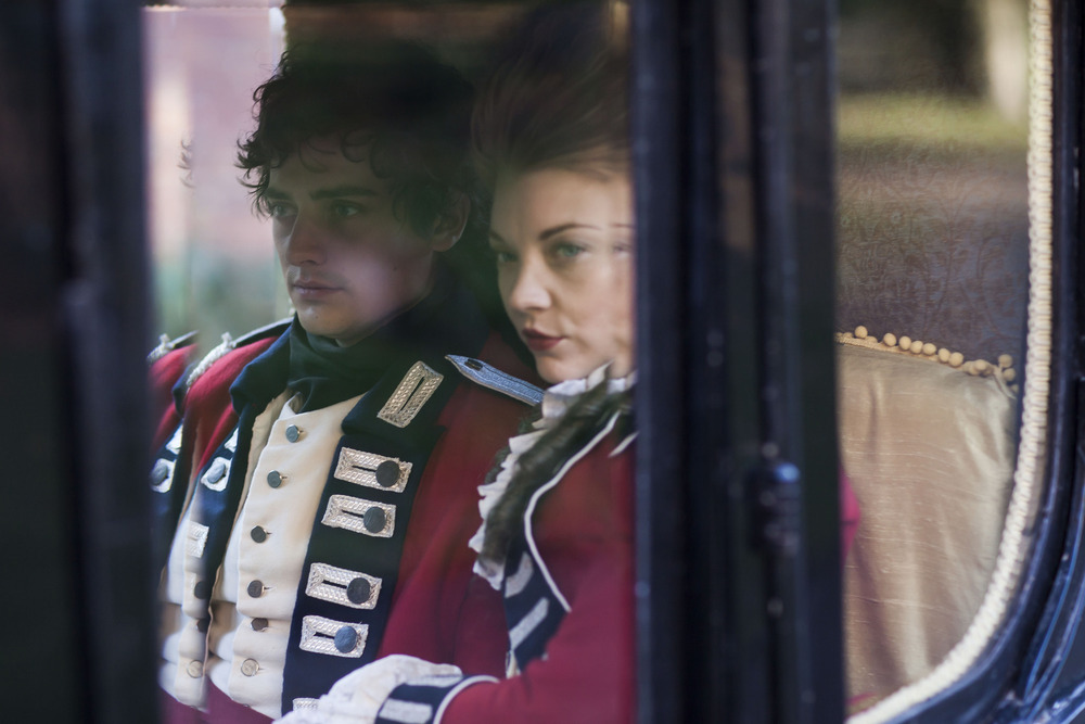 Aneurin Barnard as George and Natalie Dormer as Seymour in The Scandalous Lady W