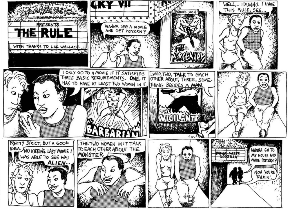 'The Rule' (1985) from Alison Bechdel's  Dykes to Watch Out For  comic strip. Bechdel credits her friend Liz Wallace with the idea for the rule.
