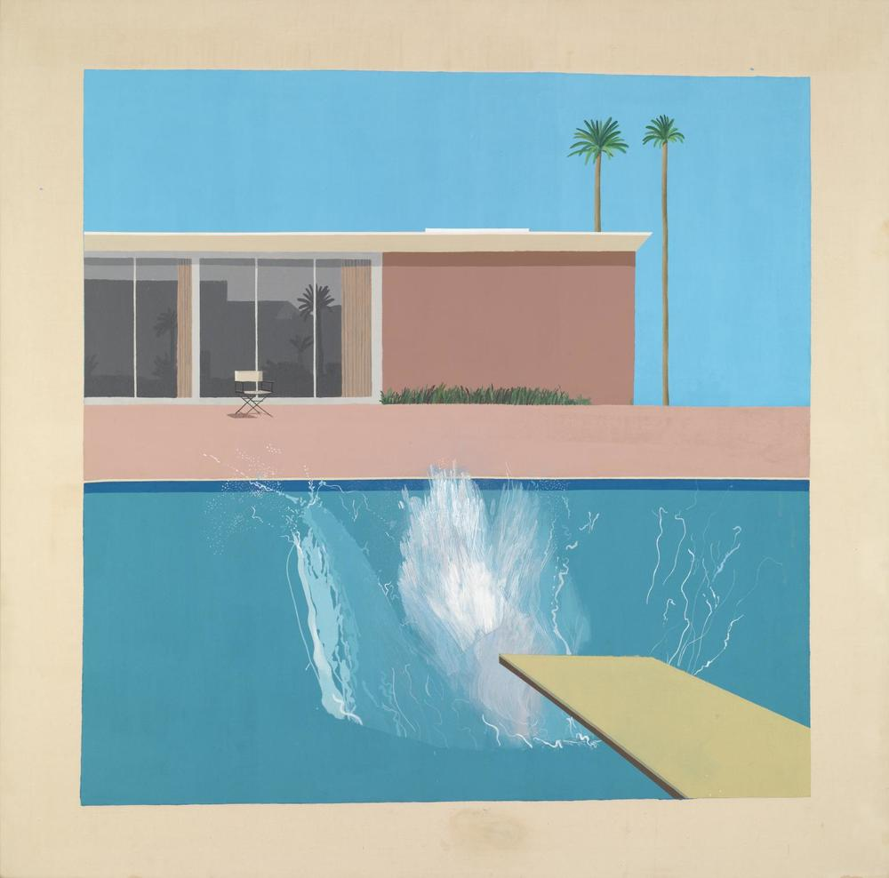 David Hockney's 1967 painting from which A Bigger Splash takes its name currently hangs in Tate Britain.