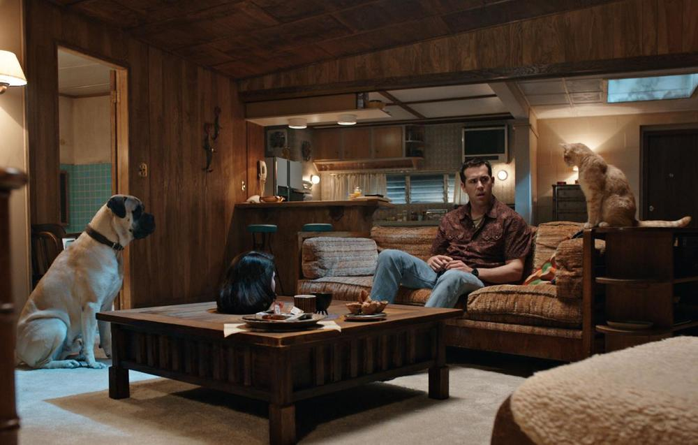Ryan Reynolds in conversation with his dog, his cat and a severed head in  The Voices .
