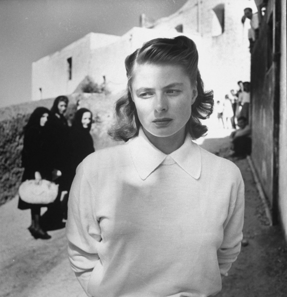 Ingrid Bergman in  Stromboli, terra di Dio  (1950), her first film under the direction of Roberto Rossellini. During production Bergman and Rossellini began an affair, which sparked outrage in the USA, led Bergman into a drawn-out divorce and custody battle over her daughter, Pia, and eventually led to her own marriage to Rossellini, with whom she had three children.