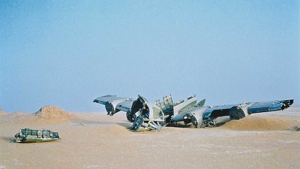 The wreckage strewn about the Sahara desert provided the backdrop to Herzog's retelling of the Mayan creation myth, the Popol Vuh, in one of his earliest break-out hits,  Fata Morgana  (1972).