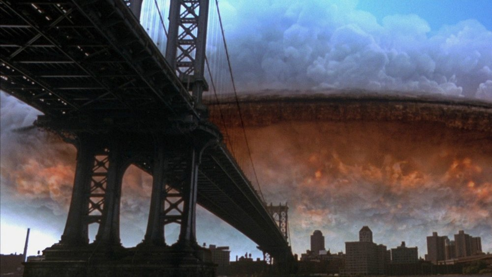 Independence Day  references  Close Encounters  several times but the most inspired nod to Spielberg's seminal classic comes when the alien warships arrive, cloaked in clouds.