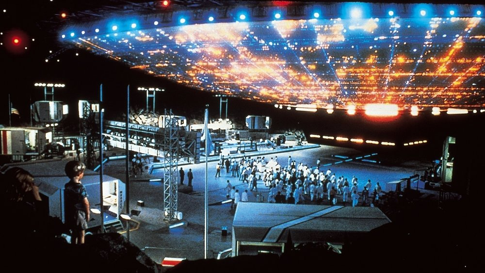 The mothership arrives in Steven Spielberg's  Close Encounters of the Third Kind .