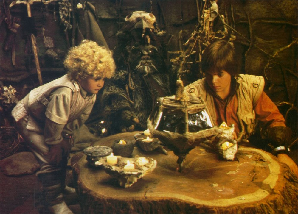 Aubree Miller and Guy Boyd play Cindel and Jeremitt, two human moppets stranded on Endor in Lucasfilm's TV-movie, Caravan of Courage: an Ewok Adventure.