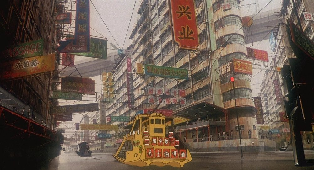 Inspired by the chaotic cityscapes of Hong Kong, New Port City was the setting for Mamoru Oshii's first anime adaptation of Ghost in the Shell in 1995.