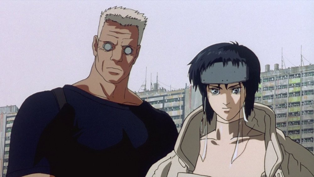 Major Kusanagi and her trusty companion, Batou, in Mamoru Oshii's Ghost in the Shell.