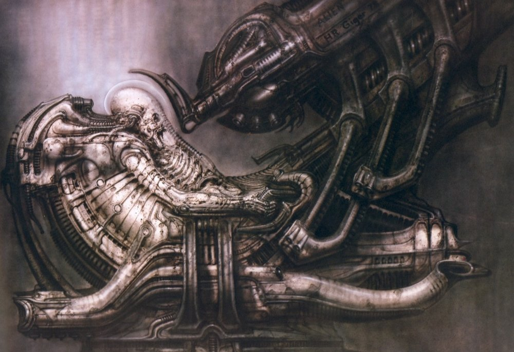 HR Giger's design for the derelict ship's Space Jockey.......