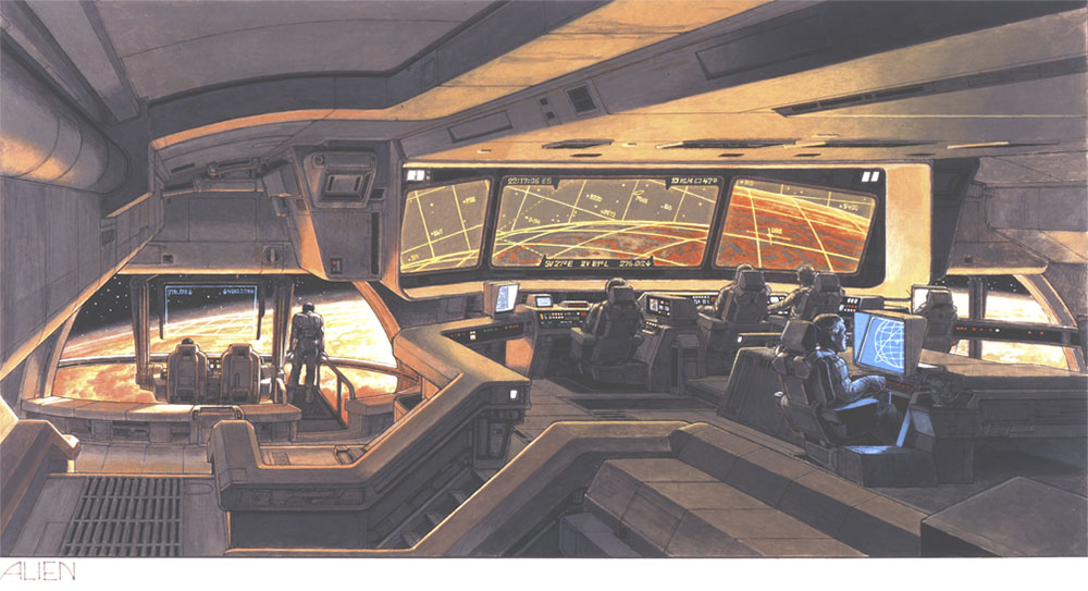 Ron Cobb's concept art for the bridge of the Nostromo.