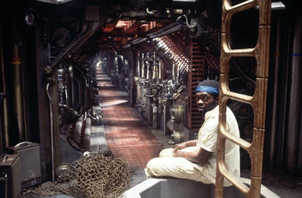 Yaphet Koto in one of the eerie corridors of the Nostromo.