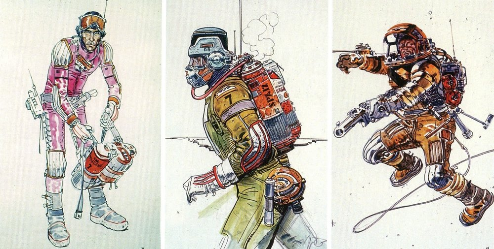 Ridley Scott was greatly inspired by the work of French comic book artist Jean Giraud (a.k.a. Moebius) so he employed the artist to design the costumes for  Alien .