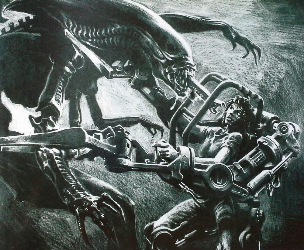 James Cameron's original concept art for the big showdown...