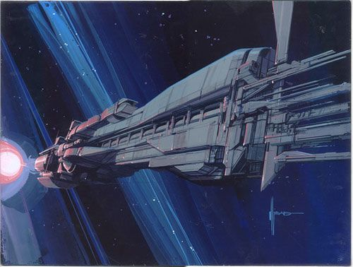 Concept art for the military transport ship the Sulaco.