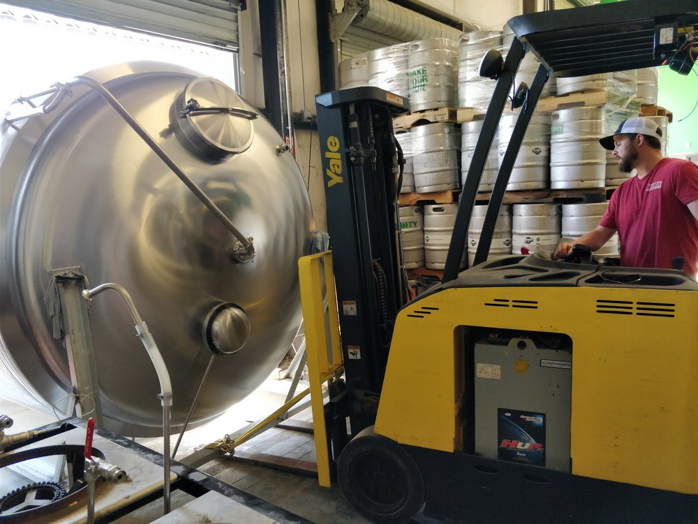 Steve moving the 30 bbl hot liquor tank
