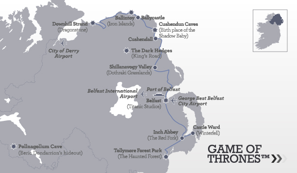 Game of Thrones site map courtesy of Discover Ireland
