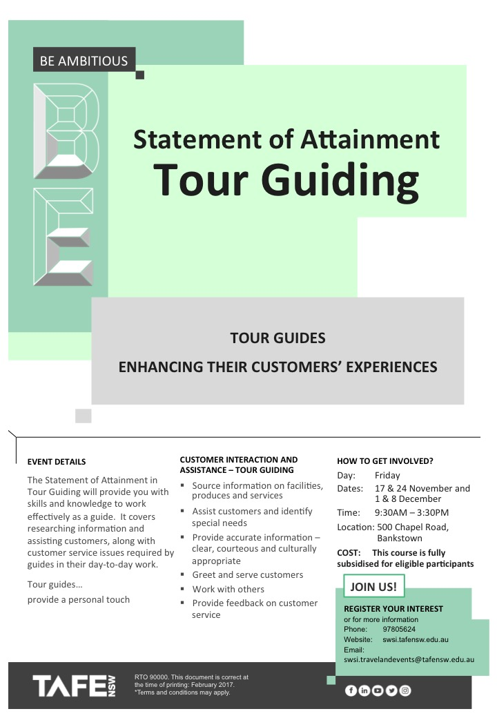 Statement of Attainment - Tour Guiding