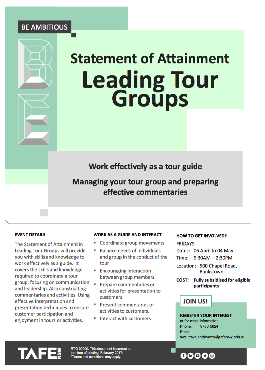 Statement of Attainment - Leading Tour Groups