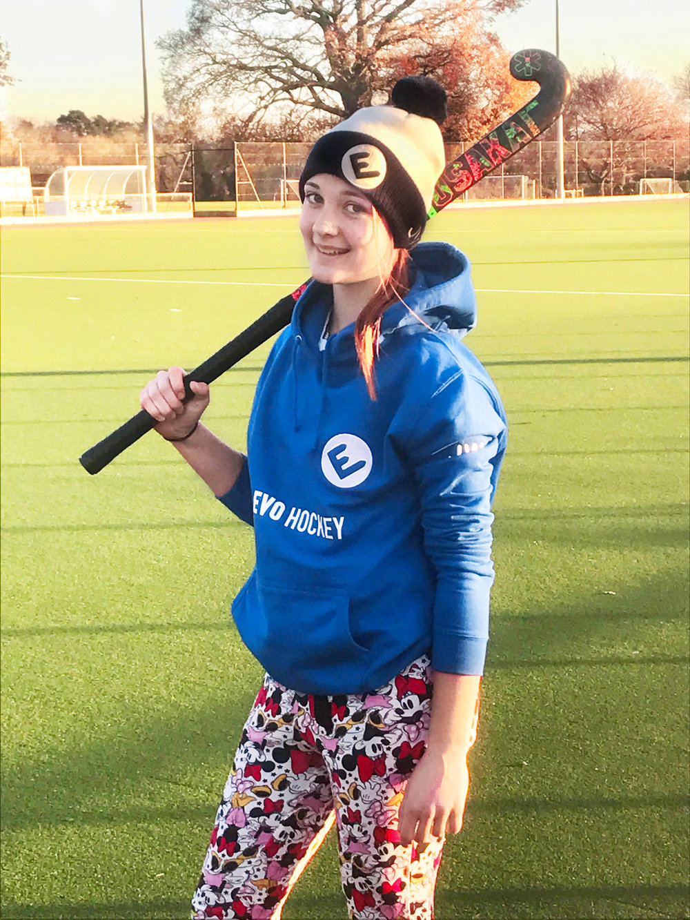 Jas at training with the Trousers of Destiny, EVO bobble hat and hoodie