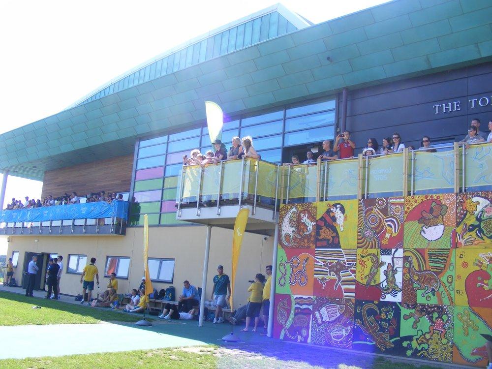 Wraparound balcony overlooking astroturf pitches