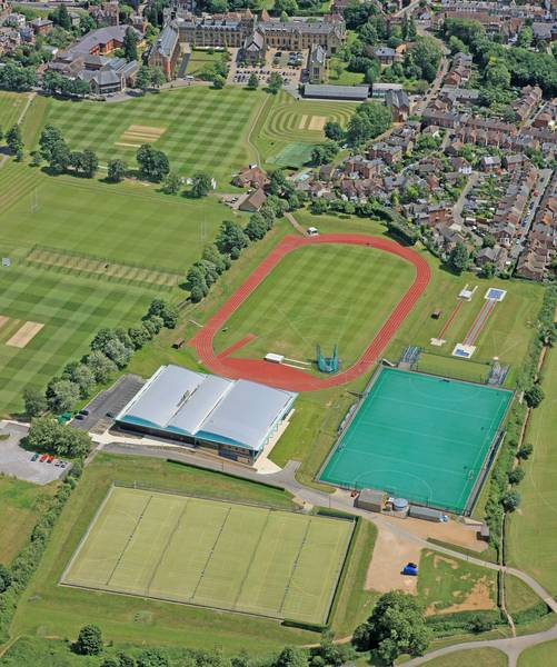 Aerial view of Tonbridge School grounds, Sport Centre and astroturf pitches