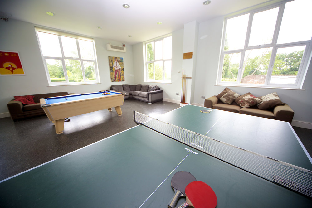Games room at boarding house accommodation